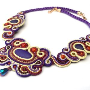 soutache collier Purper
