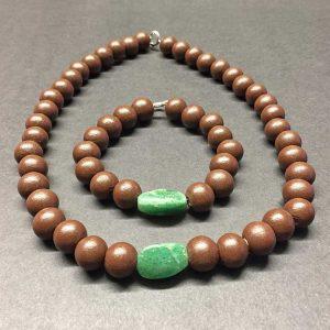 set van collier en armband met groene agaat