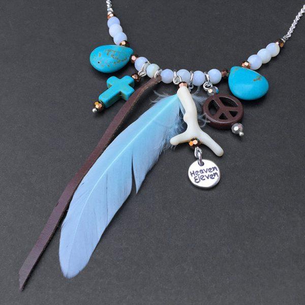 collier luck van heaven eleven met turquois, veer, kruis en wishbone